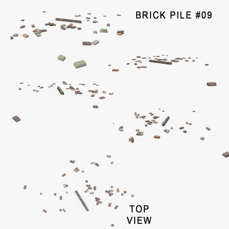 Pila de escombros, paquete de 12 royalty-free modelo 3d - Preview no. 84