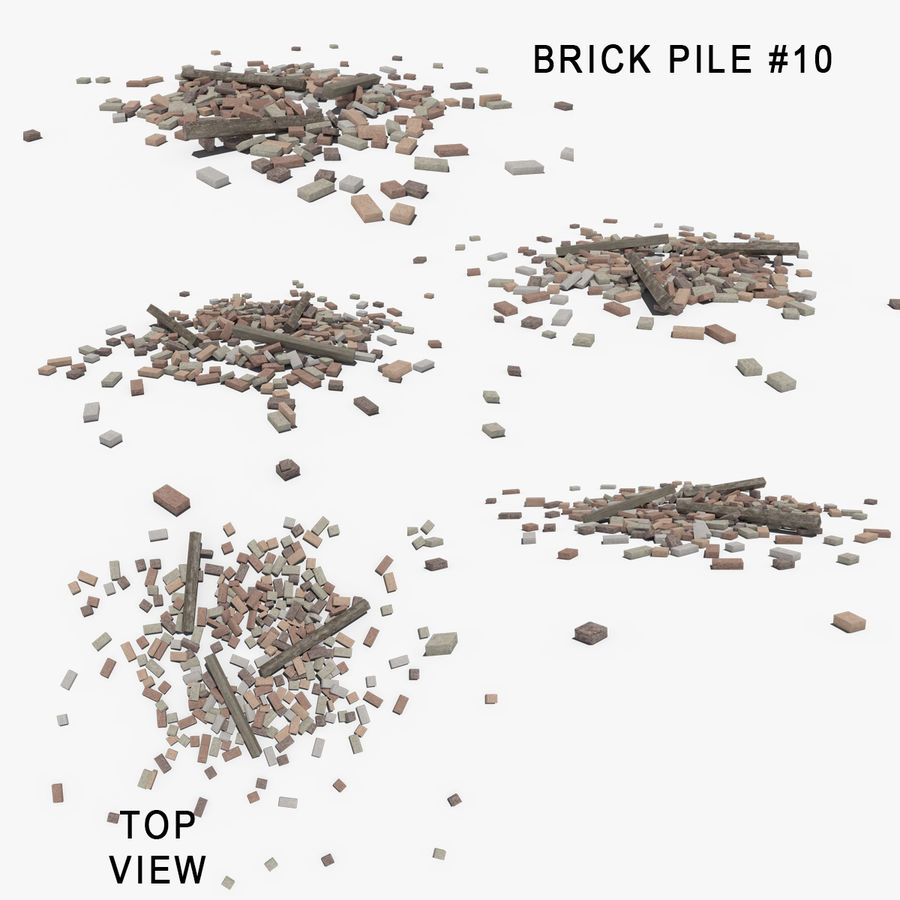 Pila de escombros, paquete de 12 royalty-free modelo 3d - Preview no. 13