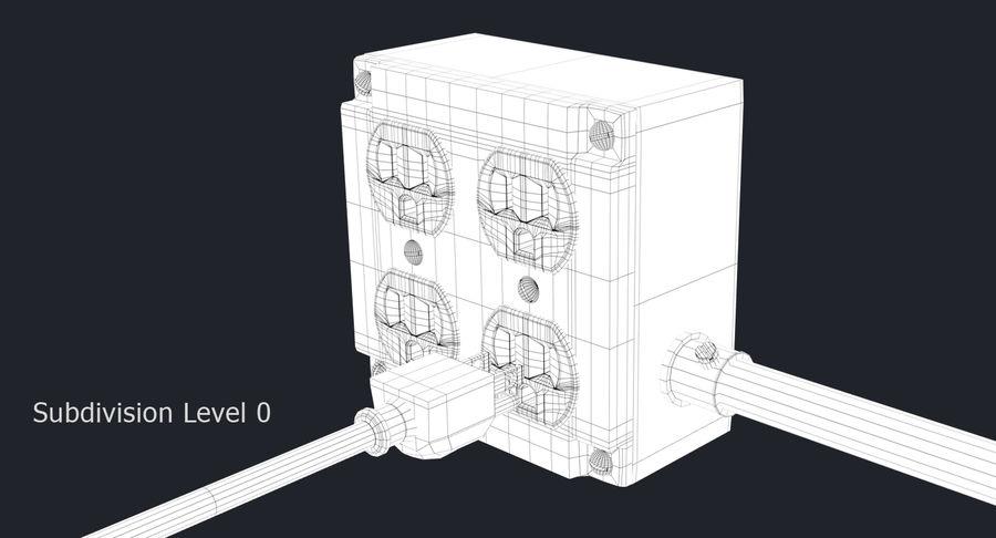 Elektryczna puszka połączeniowa z kablem zasilającym royalty-free 3d model - Preview no. 9