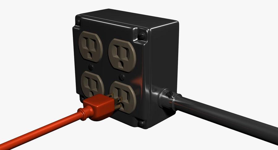 Elektryczna puszka połączeniowa z kablem zasilającym royalty-free 3d model - Preview no. 2