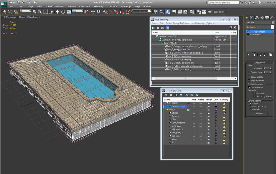 Swimming Pool royalty-free 3d model - Preview no. 11