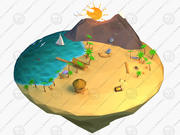 Cartoon island 3d model
