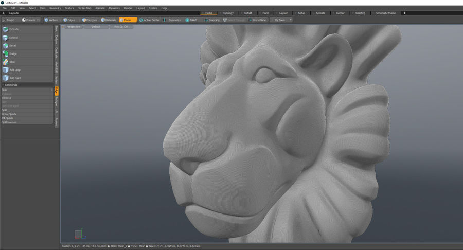 Lion Bust royalty-free 3d model - Preview no. 5