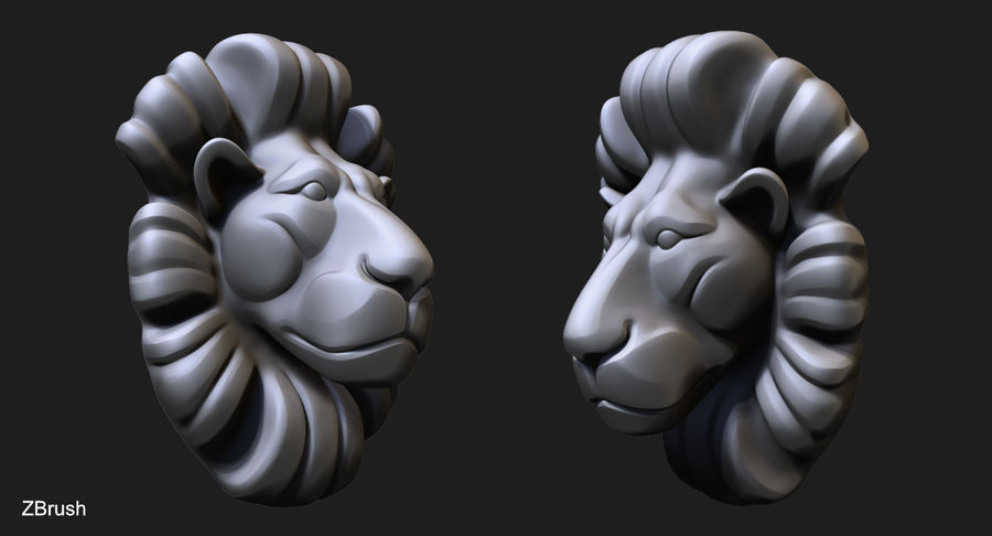 Lion Bust royalty-free 3d model - Preview no. 2