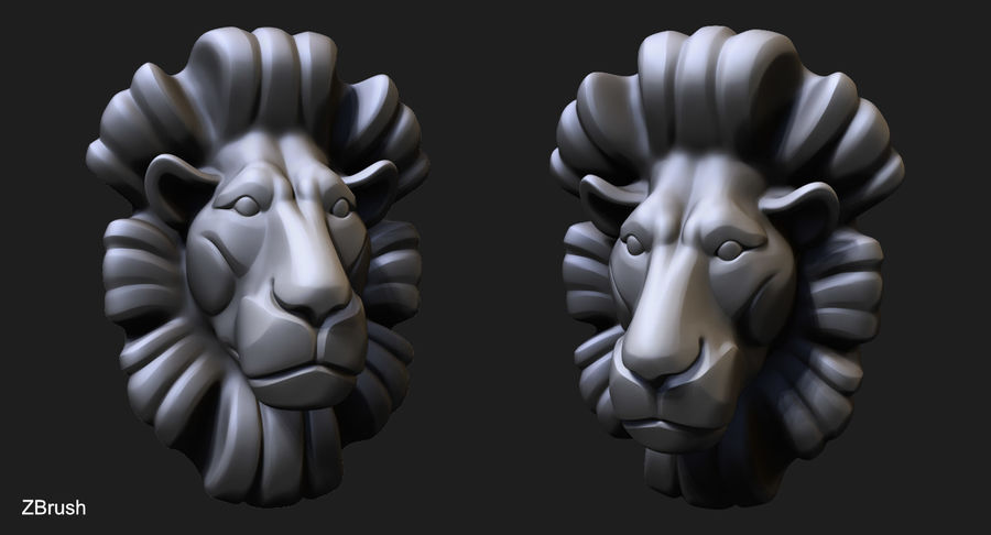 Lion Bust royalty-free 3d model - Preview no. 3