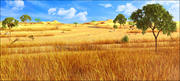 アフリカのサバンナの風景 3d model