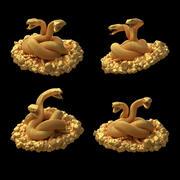 deux serpents 3D 3d model