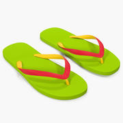 Slanke slippers groen 3d model