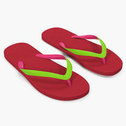 Classic Flip Flops for Women Red 3d model