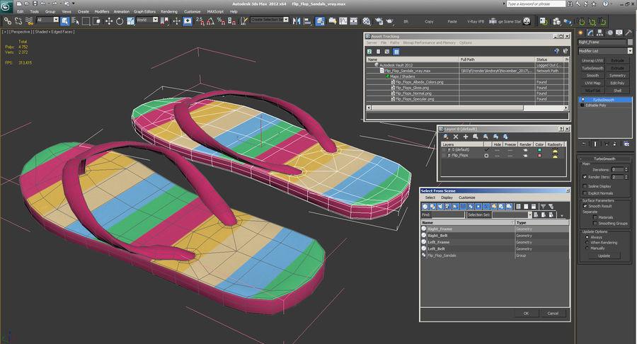 Flip Flop Sandals royalty-free 3d model - Preview no. 12