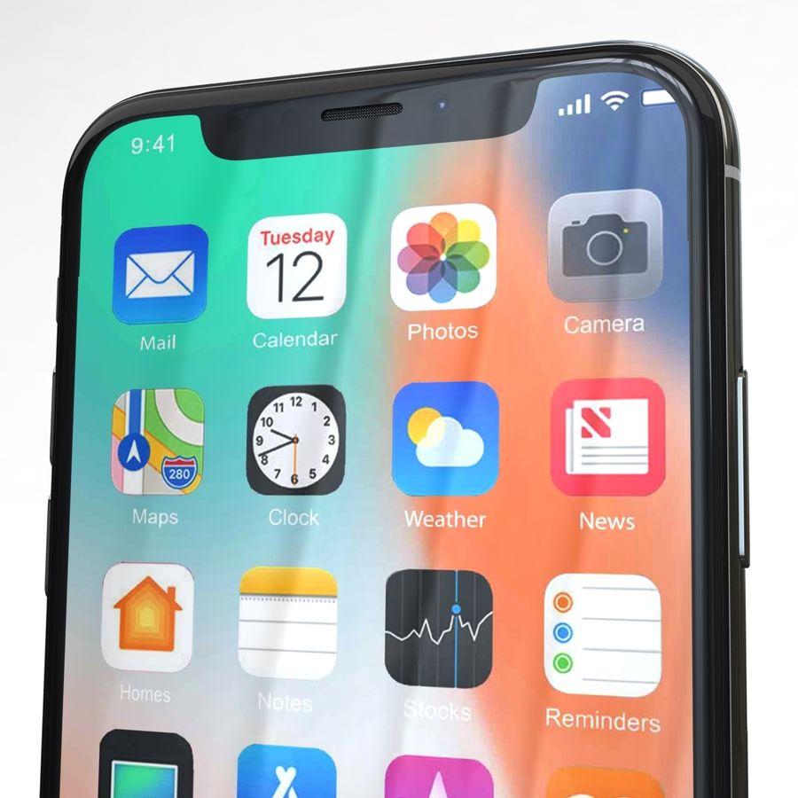 Apple iPhone X Prateado royalty-free 3d model - Preview no. 25