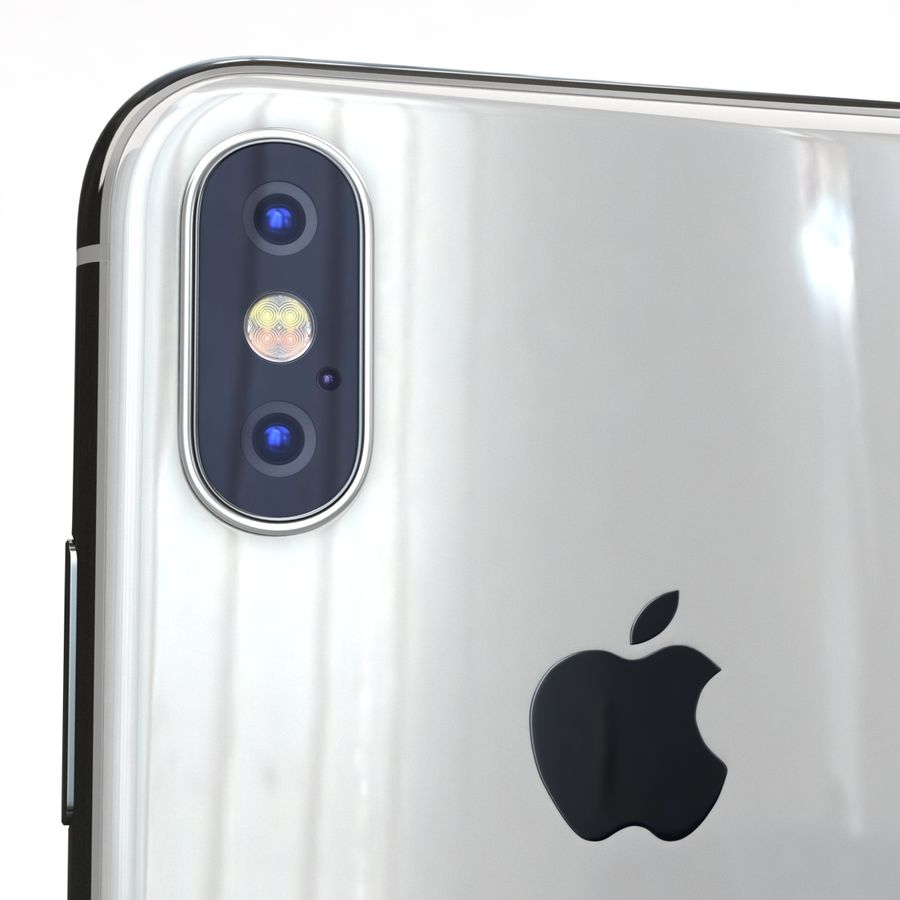 Apple iPhone X Prateado royalty-free 3d model - Preview no. 20