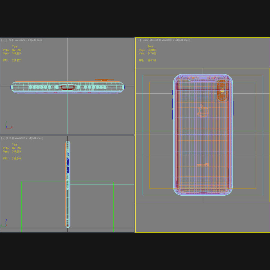Apple iPhone X Prateado royalty-free 3d model - Preview no. 45