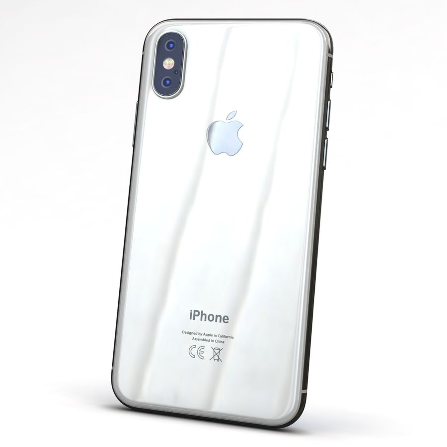Apple iPhone X Prateado royalty-free 3d model - Preview no. 5