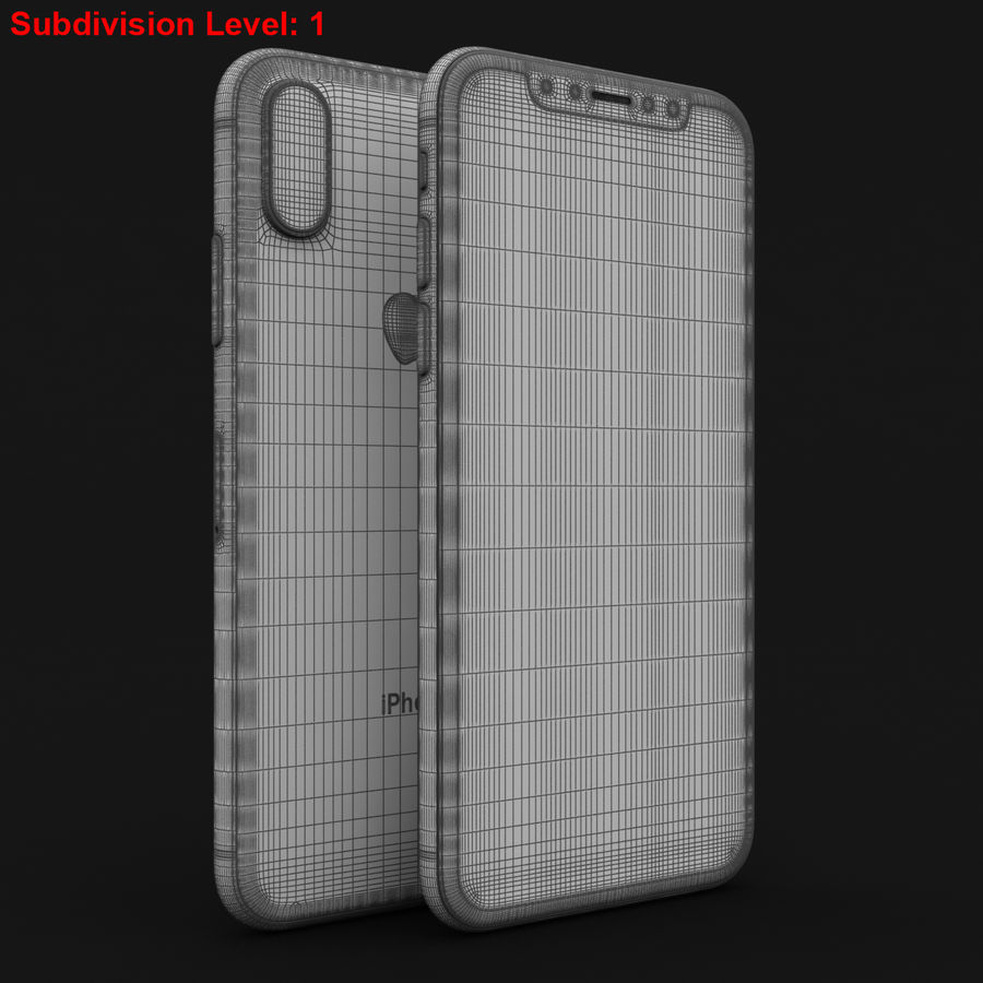 Apple iPhone X Prateado royalty-free 3d model - Preview no. 28
