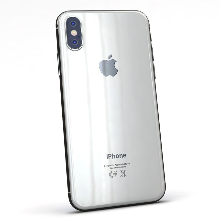 Apple iPhone X Prateado royalty-free 3d model - Preview no. 6