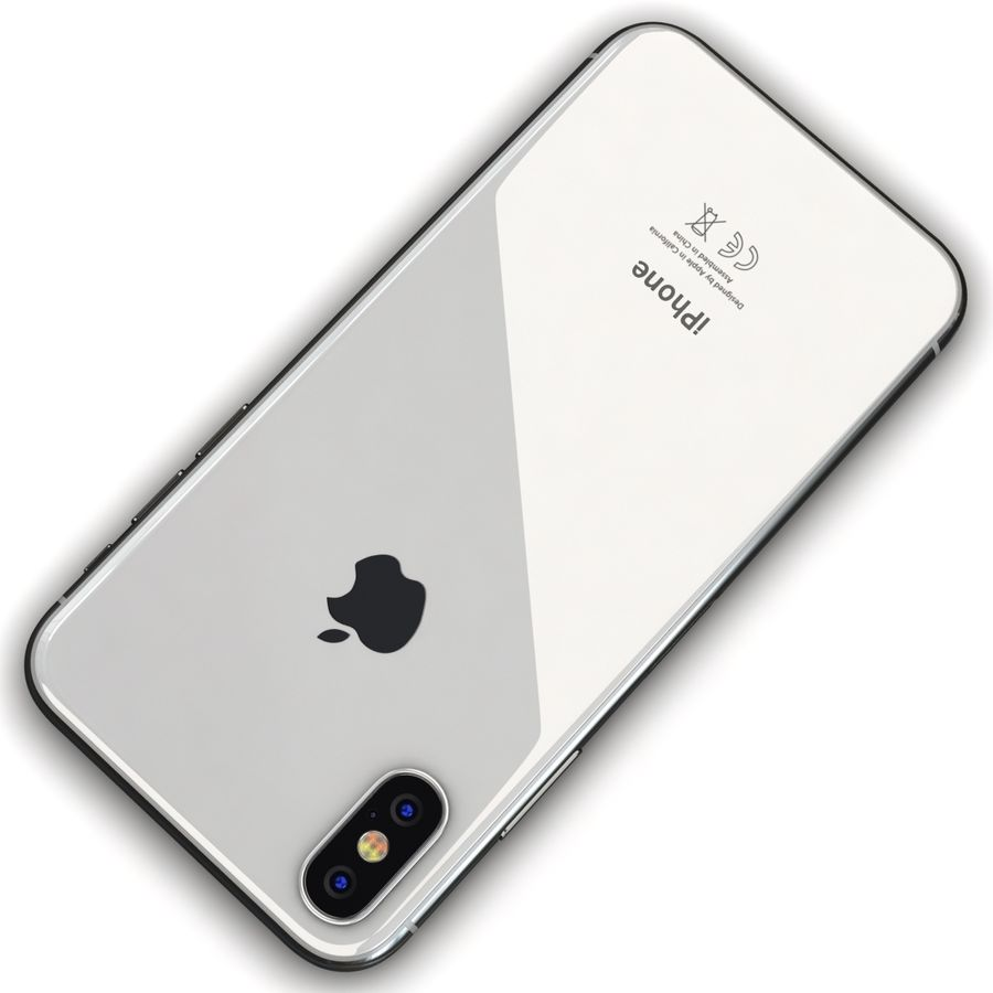 Apple iPhone X Prateado royalty-free 3d model - Preview no. 12