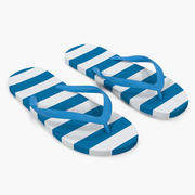 Unisex Blue and White Flip Flops 3d model
