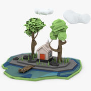 Laag poly huis 3d model