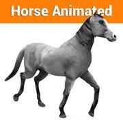 cavalo cinza animado 3d model