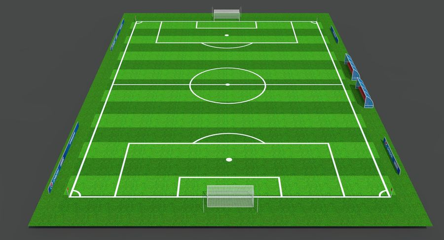 Soccer Pitch royalty-free 3d model - Preview no. 9