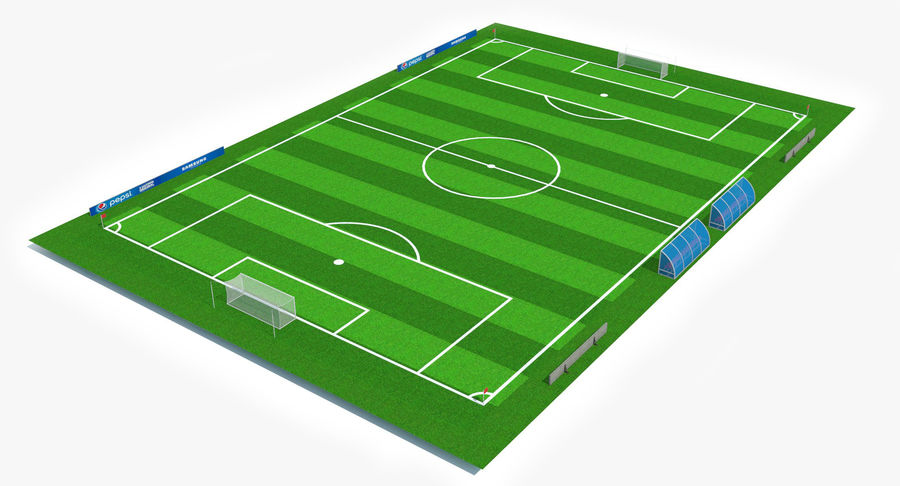 Soccer Pitch royalty-free 3d model - Preview no. 3