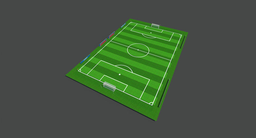 Soccer Pitch royalty-free 3d model - Preview no. 2