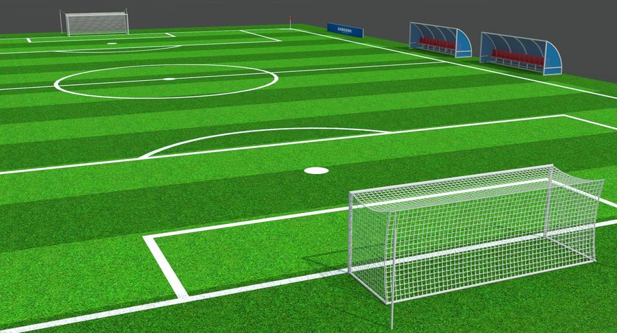 Soccer Pitch royalty-free 3d model - Preview no. 6
