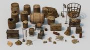Collezione di oggetti di scena vecchia nave 3d model