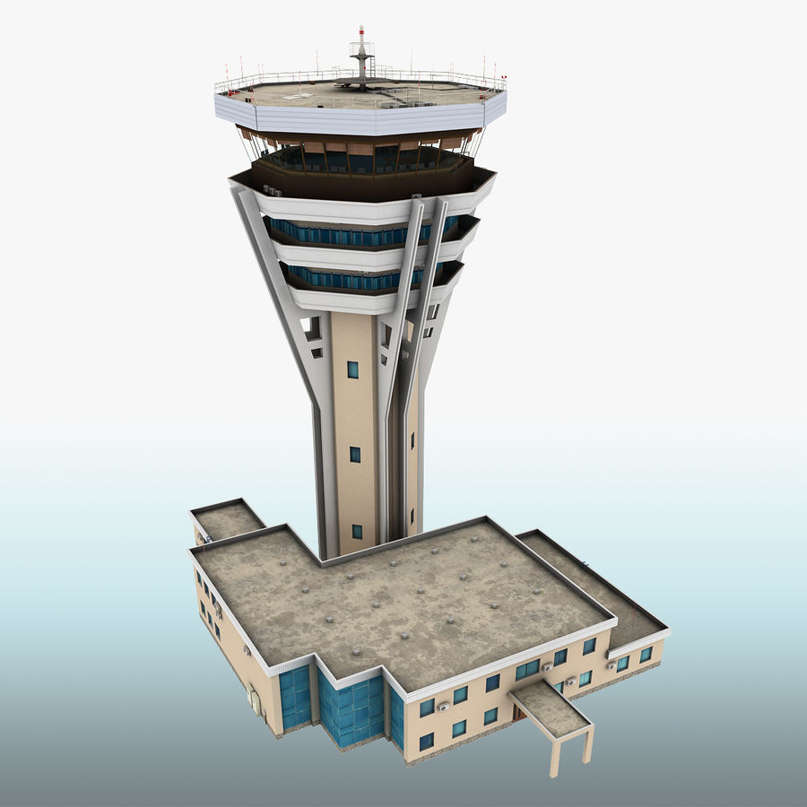 Air Traffic Control Tower royalty-free 3d model - Preview no. 2