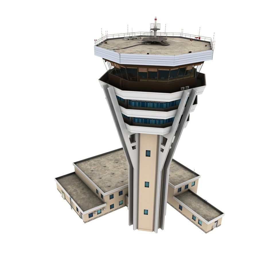 Air Traffic Control Tower royalty-free 3d model - Preview no. 5