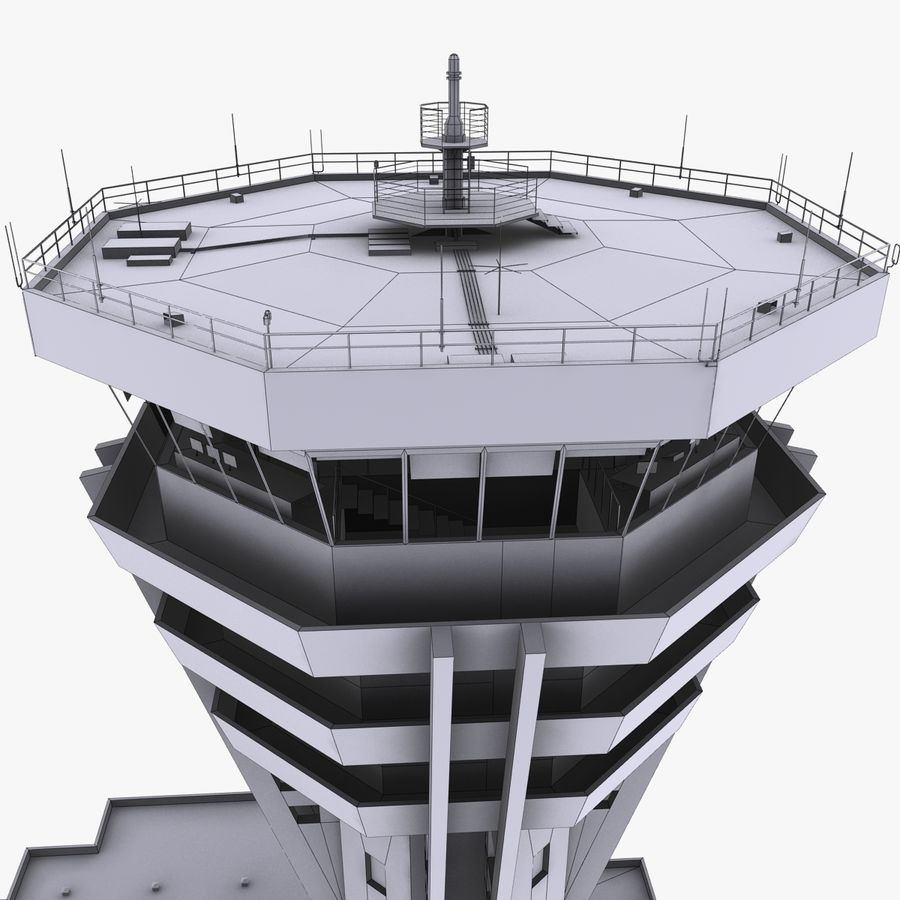 Air Traffic Control Tower royalty-free 3d model - Preview no. 14