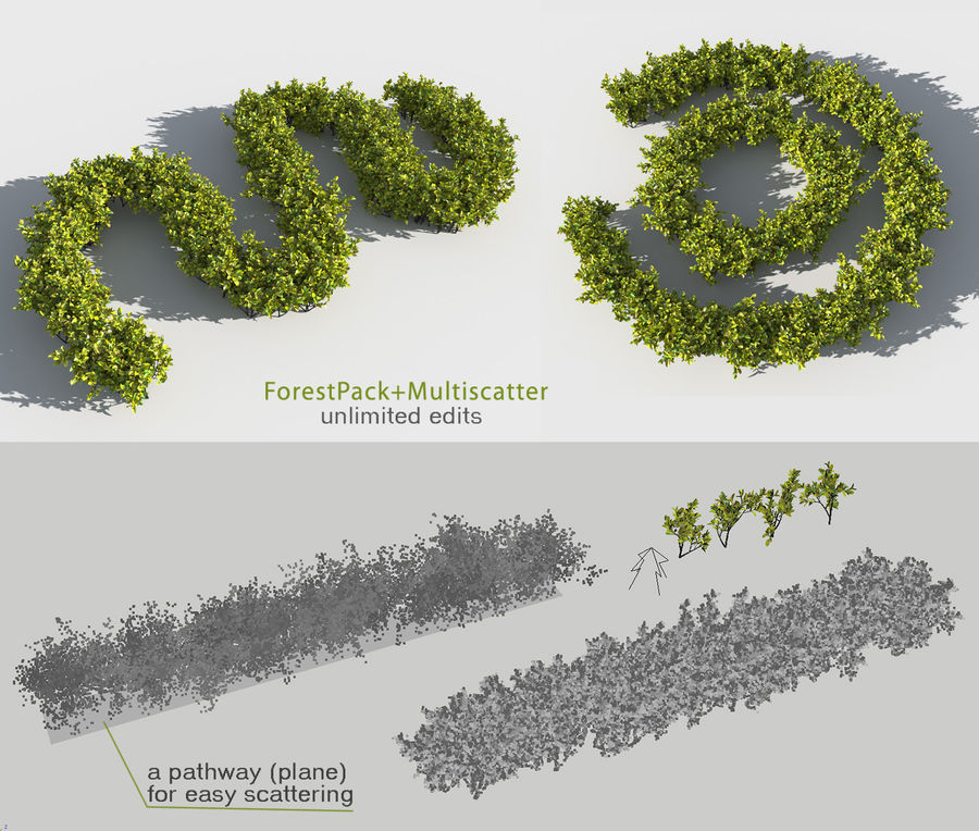 Coleção de sebes e arbustos (10 em 1) royalty-free 3d model - Preview no. 21