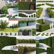 Collezione Hedges & Shrubs (10 in 1) 3d model
