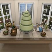 웨딩 디저트 테이블 장면 3d model