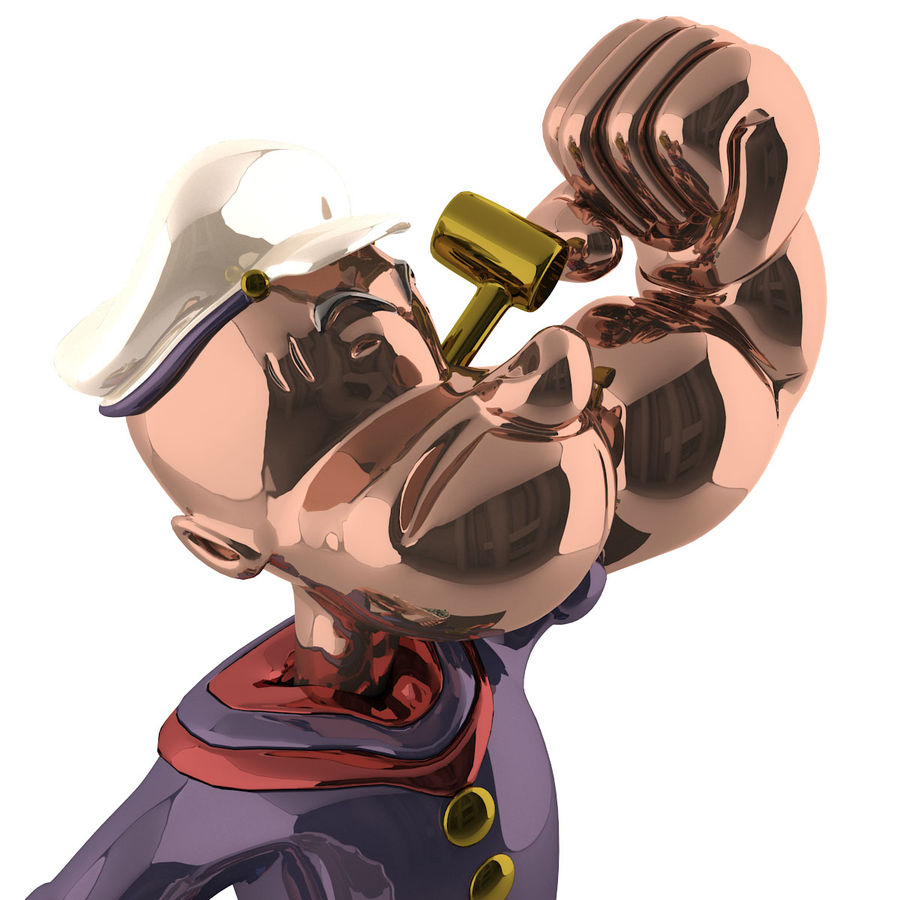Scultura popeye Jeff Koons royalty-free 3d model - Preview no. 6