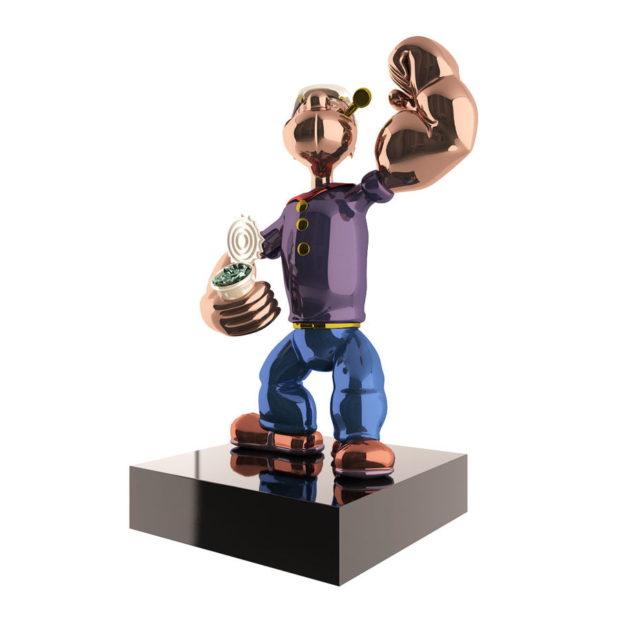 Scultura popeye Jeff Koons royalty-free 3d model - Preview no. 2