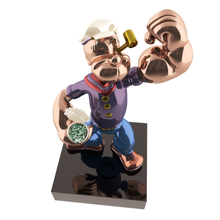 Scultura popeye Jeff Koons royalty-free 3d model - Preview no. 3