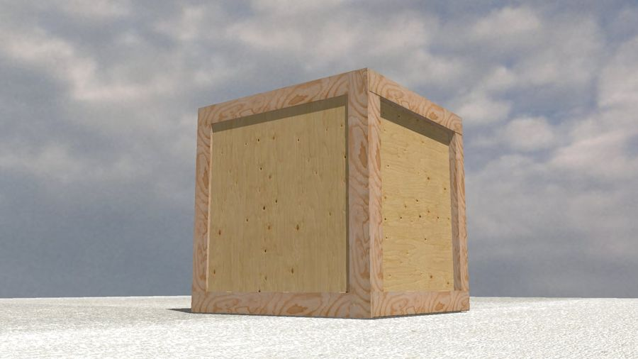 Wooden Box Crate royalty-free 3d model - Preview no. 2