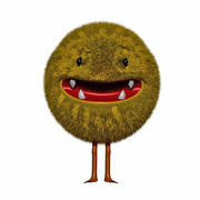 a happy fluffy monster 3d model