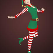 Kadın Noel Elf 3d model