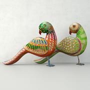 Rustiek gesneden geschilderde papegaaien 3d model