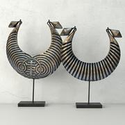 Vintage Tribal Metal Necklaces on Stand 3d model