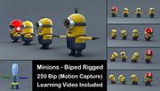 4 Minions 3D-modeller med Biped och lärande video 3d model