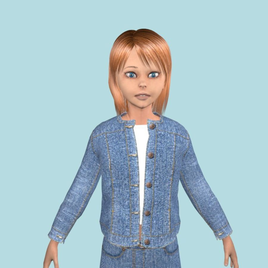 Adolescente en ropa de jeans royalty-free modelo 3d - Preview no. 2