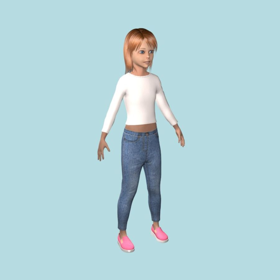 Adolescente en ropa de jeans royalty-free modelo 3d - Preview no. 6
