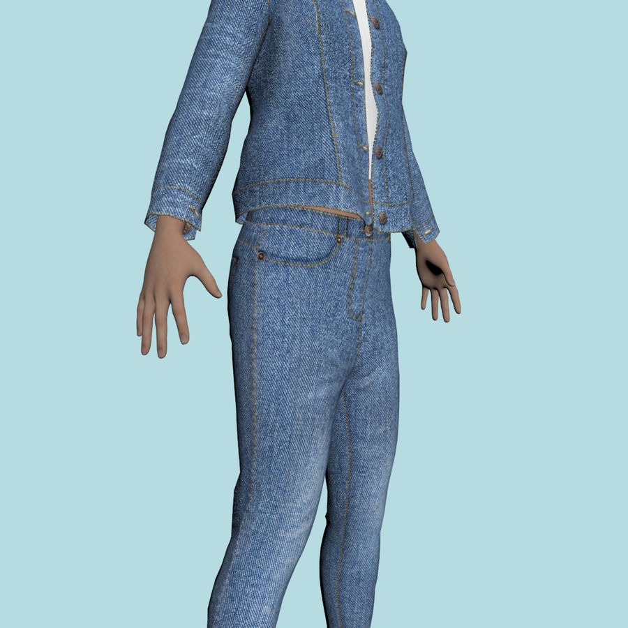 Adolescente en ropa de jeans royalty-free modelo 3d - Preview no. 11