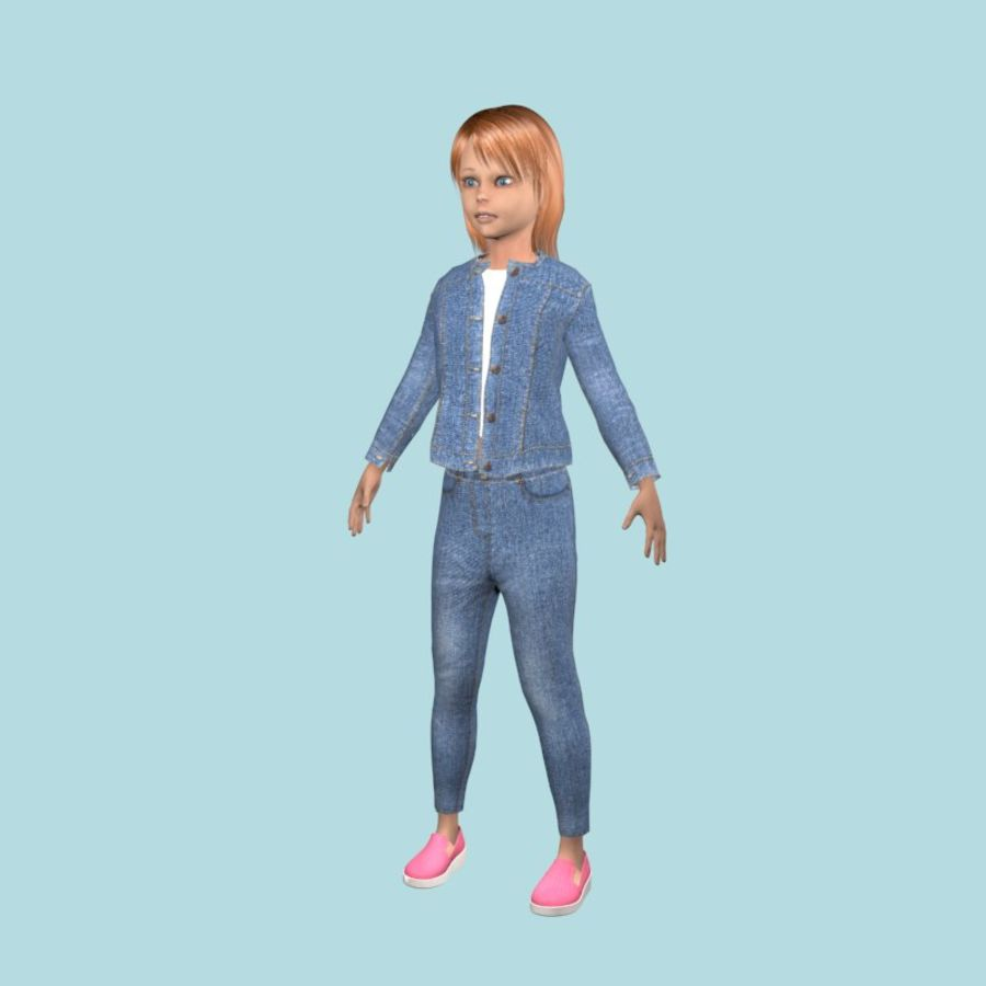 Adolescente en ropa de jeans royalty-free modelo 3d - Preview no. 3