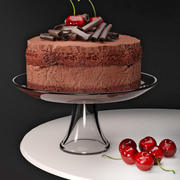 Cherry Chocolate Mousse Cake 3d model