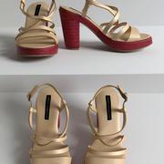 POŁĄCZENIE FRANCUSKIE Beżowe sandały na platformie Espadryle 3d model